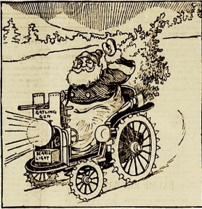 Pere noel et voiture avec mitrailleuse (annonce de Scroggie)