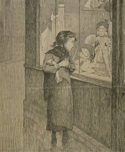 fille pauvre esseule devant vitrine