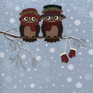 deux caricatures oiseaux sur une branche en hiver