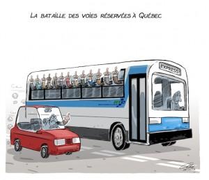 caricature andre philippe cote, autobus voies reservees