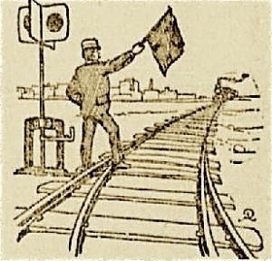 homme au drapeau chef de gare