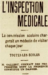 inspection medicale dans les ecoles