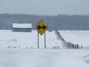 Au coin du rang des Pointes, jour de neige