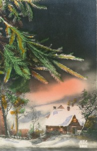 Paysage, maison, ciel rose, soir