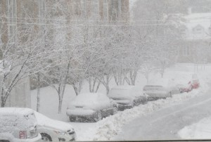 Premiere neige, vue de la bibliotheque
