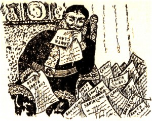 Santa occupe a lire les mots des enfants (La Patrie, 7 dec. 1905)