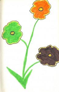 Trois fleurs dessin