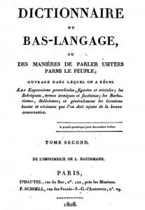 dictionnaire du bas langage 1808