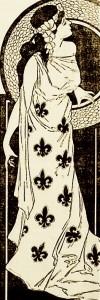 Dame avec robe de fleurs de lys