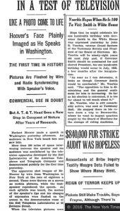 manchette du NY Times sur la television en 1927